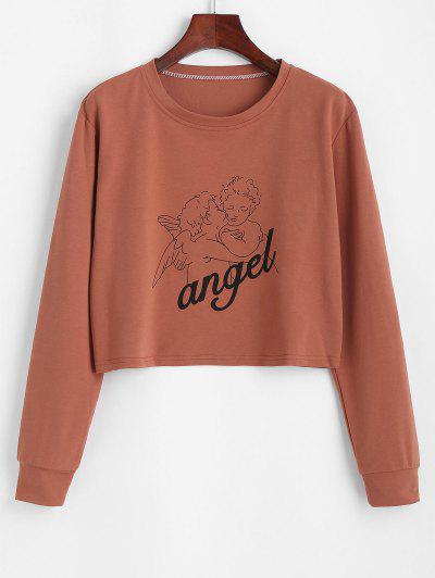 Cropped Angel Print Tee - Coffee L