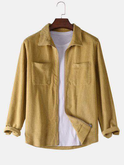 Chest Pocket Plain Ribbed Corduroy Jacket - Yellow L