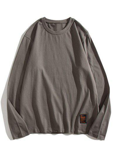 Solid Long Sleeve Applique T Shirt - Dark Gray Xs
