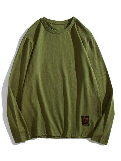 Solid Long Sleeve Applique T Shirt - Army Green S