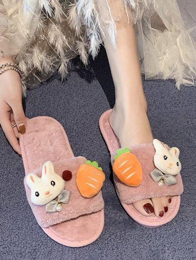 Rabbit Carrot Plush Flat Slippers - Light Pink Eu 39