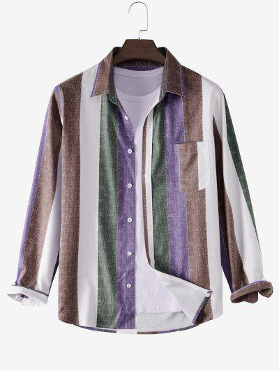 Colorblock Striped Pocket Ribbed Shirt - Multi L