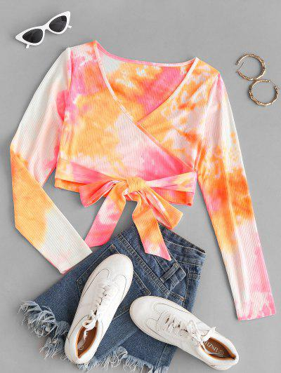 Neon Tie Dye Ribbed Wrap-tie Surplice Top - Multi S