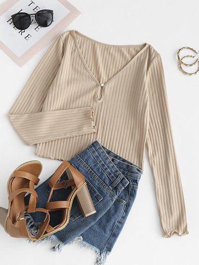 ZAFUL Lettuce Trim Ribbed Cropped T-shirt - Apricot S