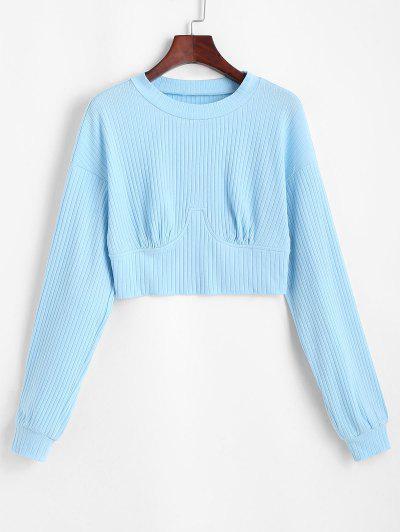 ZAFUL Perfurado Rib Knit Montantes Do Bebê Cortado - Azul Claro L