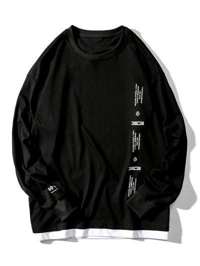 T-shirt Lettre Graphique Imprimée Fausse Deux Pièces à Manches Longues - Noir Xl