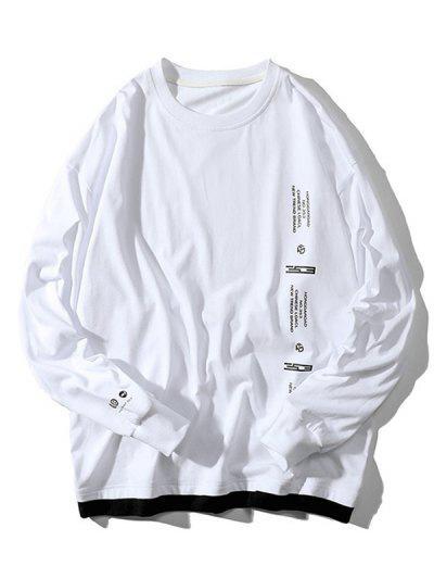 文字柄フェイクツインセット長袖Tシャツ - 白 L