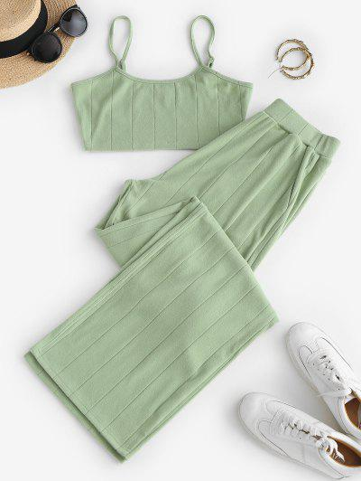 ZAFUL Cropped Cami Top And Wide Leg Pants Set - Dark Sea Green S