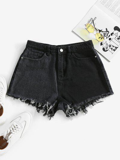ZAFUL Frayed Two Tone Denim Shorts - Black S