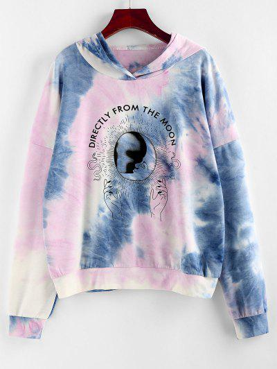 Moon Print Tie Dye Graphic Hoodie - Light Blue S