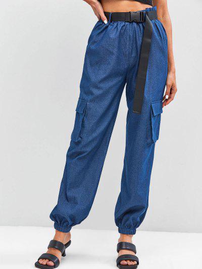 ZAFUL Chambray Buckle Belt Cargo Pants - Blue S