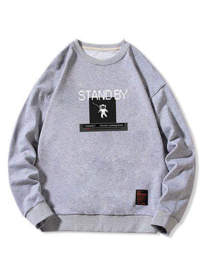 Stand By Astronaut Graphic Sweatshirt - Gray Xs