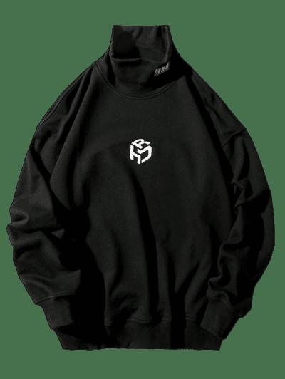 Embroidery Letter Mock Neck Drop Shoulder Sweatshirt