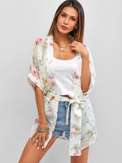 Flower Chiffon See Thru Belted Cover Up - White