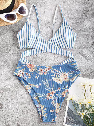 ZAFUL Striped Flower Ribbed Criss Cross Cutout One-piece Swimsuit - Blue Xl
