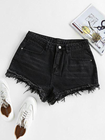 ZAFUL Frayed Denim Shorts - Black M