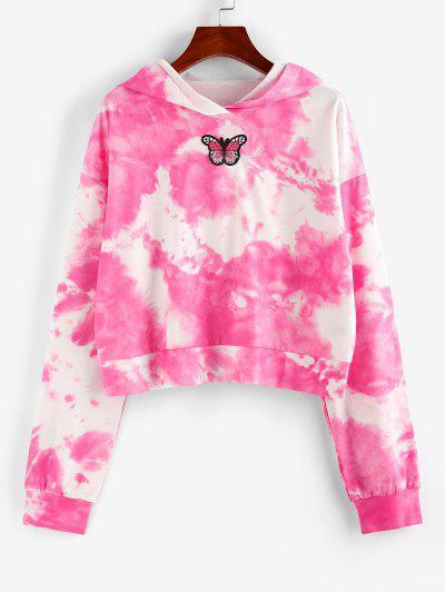 ZAFUL Tie Dye Butterfly Applique Pullover Hoodie - Light Pink L