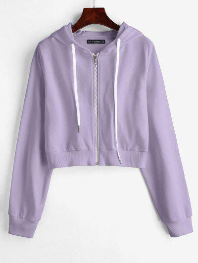 ZAFUL Drawstring Zip Up Cropped Hoodie - Light Purple S