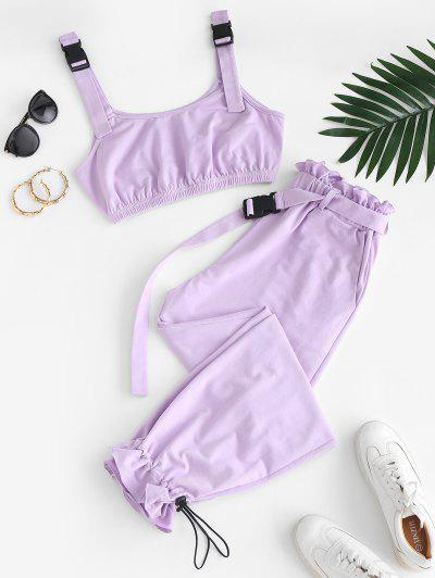 ZAFUL Buckle Strap Crop Top And Drawstring Paperbag Pants Set - Mauve Xl