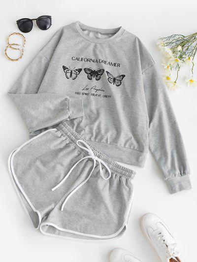 ZAFUL Butterfly Print Sweatshirt And Mini Dolphin Shorts Set - Light Gray L