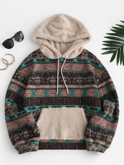 ZAFUL Tribal Print Faux Fur Fleece Hoodie - Light Brown L