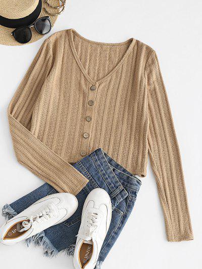ZAFUL Button Up V Neck Cropped Cardigan - Tan S