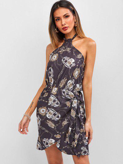 Baroque Chain Print Halter Backless Mini Asymmetrical Dress - Black M