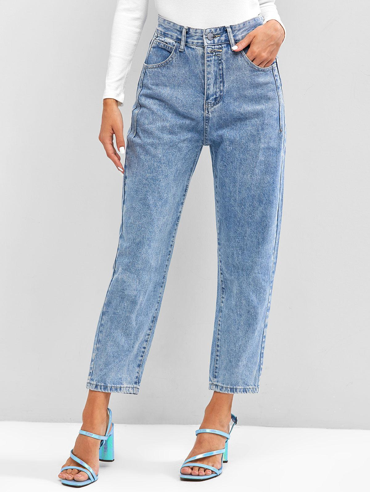 High Waist Medium Wash Tapered Jeans