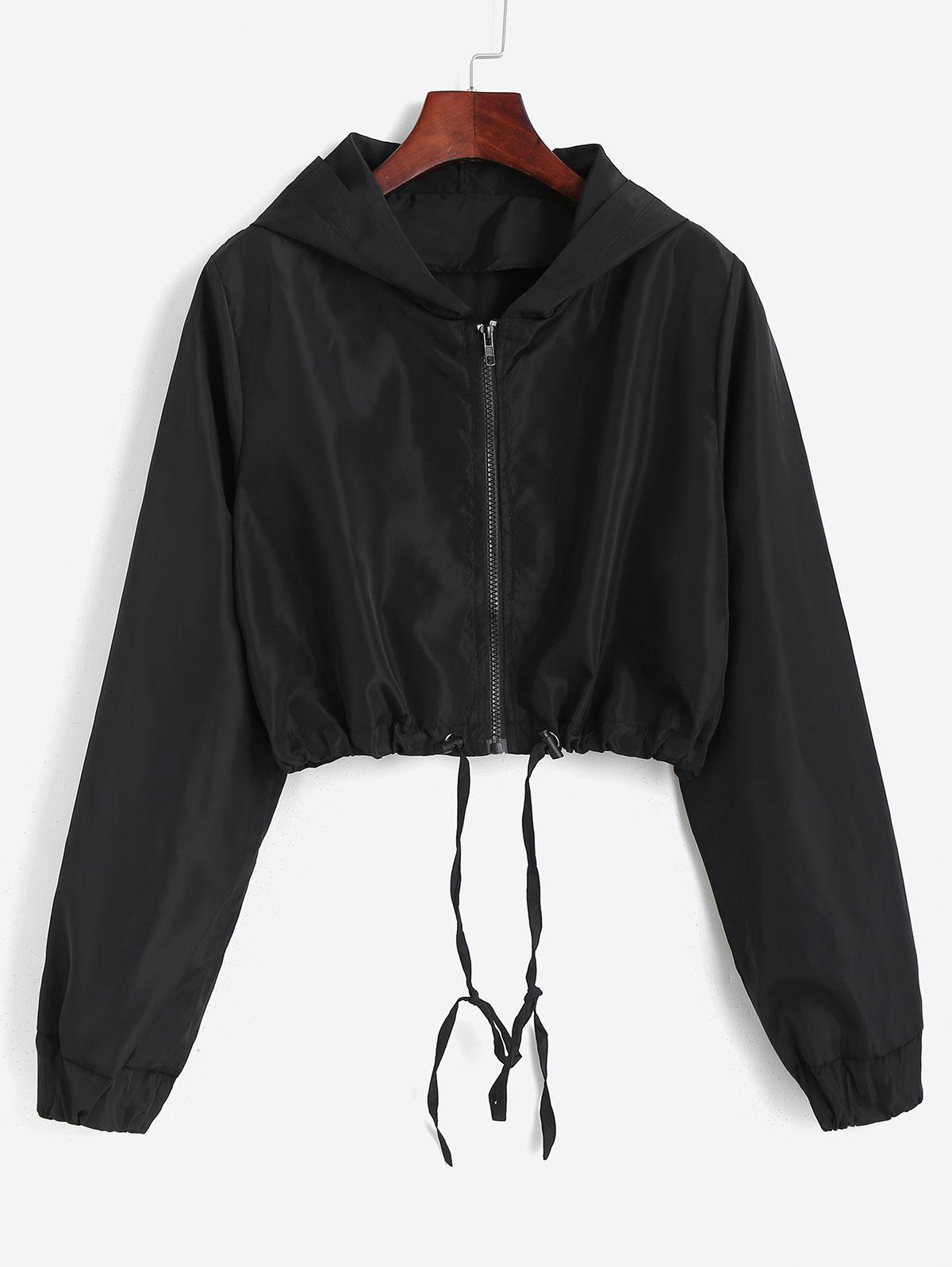Hooded Cropped Windbreaker Jacket