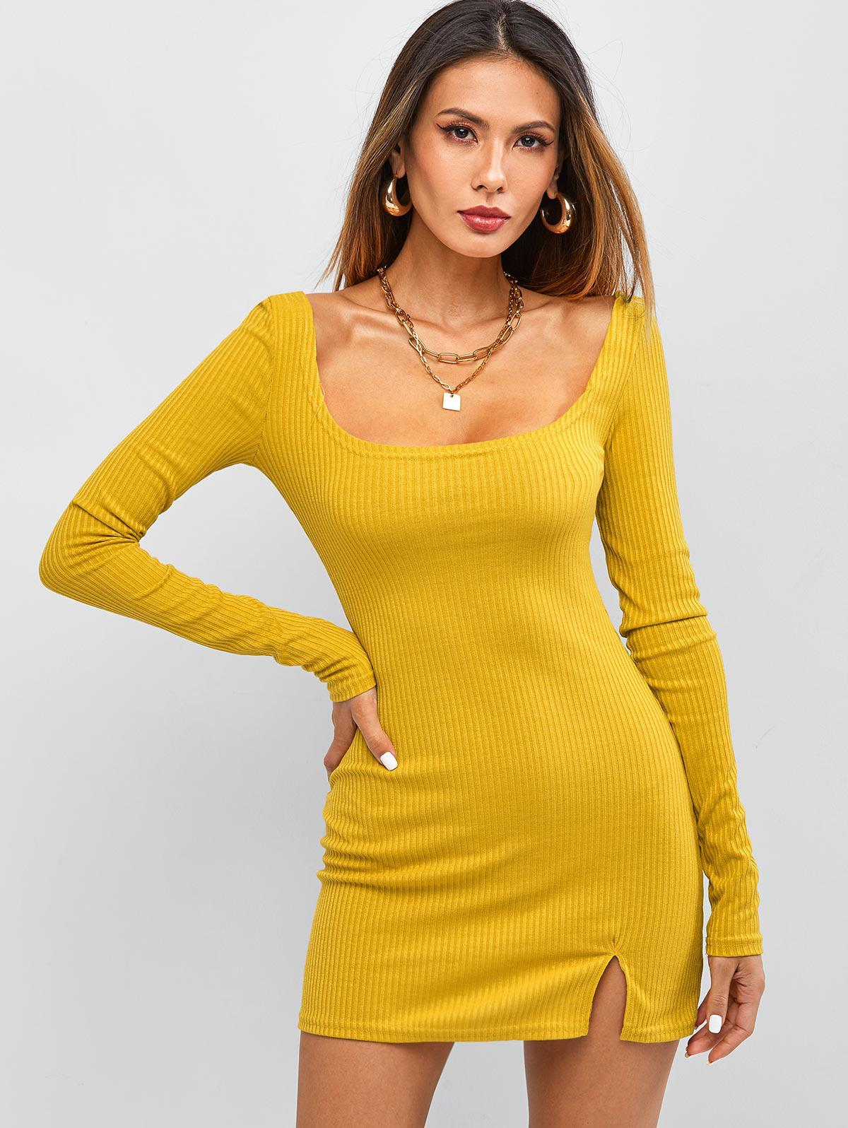 Long Sleeve Ribbed Front Slit Mini Dress