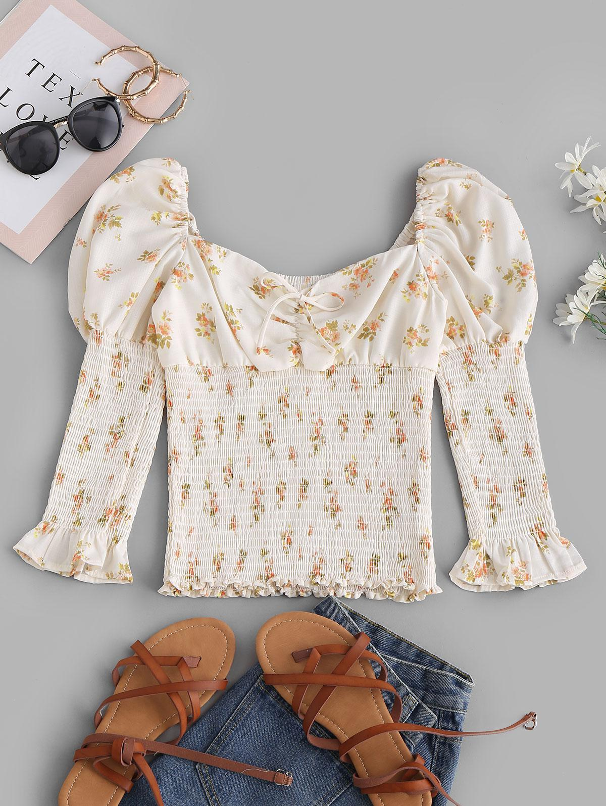 Tie Collar Smocked Ditsy Floral Milkmaid Blouse
