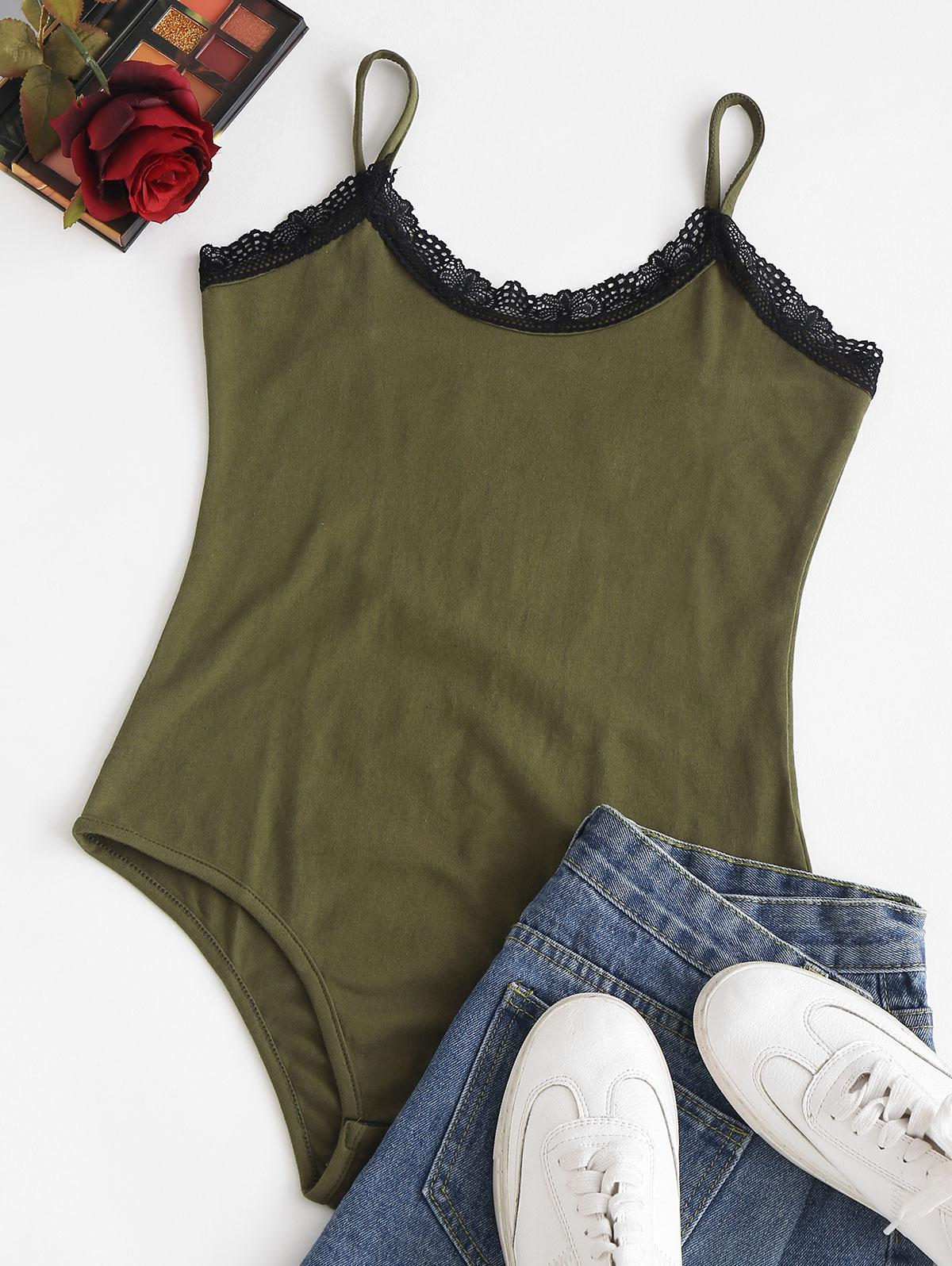 Snap Button Lace Trim Cami Bodysuit