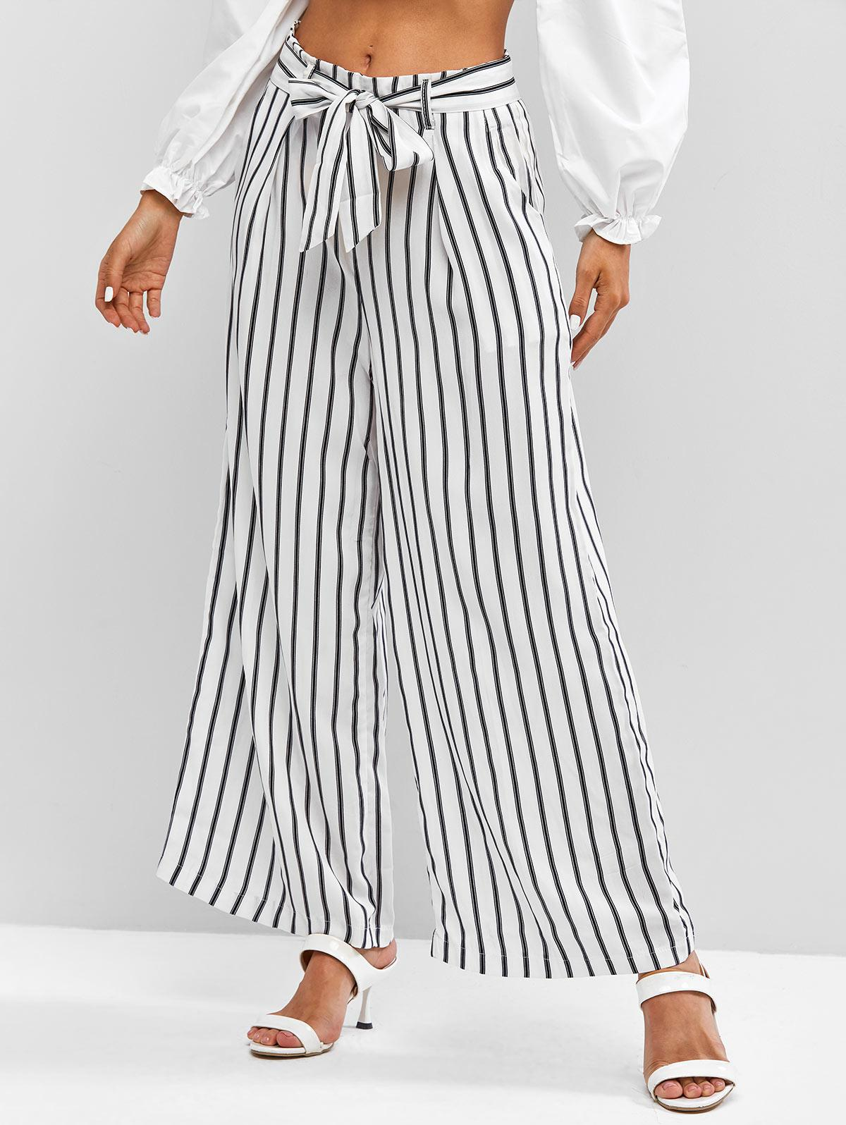 Belted Stripes Wide Leg Pants