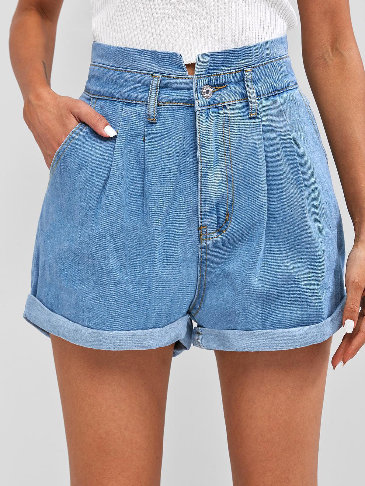 Pleated Cuffed Denim Shorts