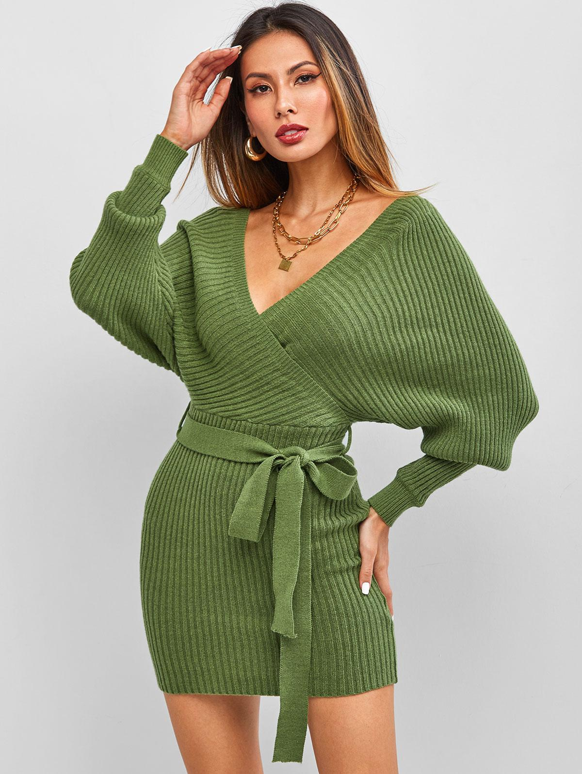 ZAFUL Belt Batwing Sleeve Surplice Sweater Dress