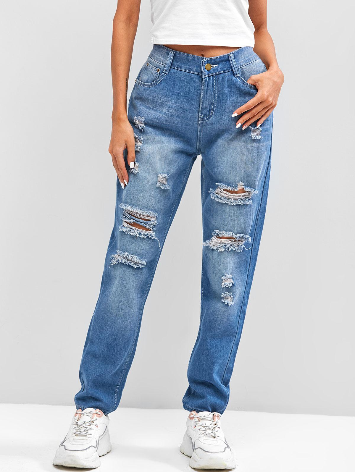Ripped Destroyed High Rise Pencil Jeans