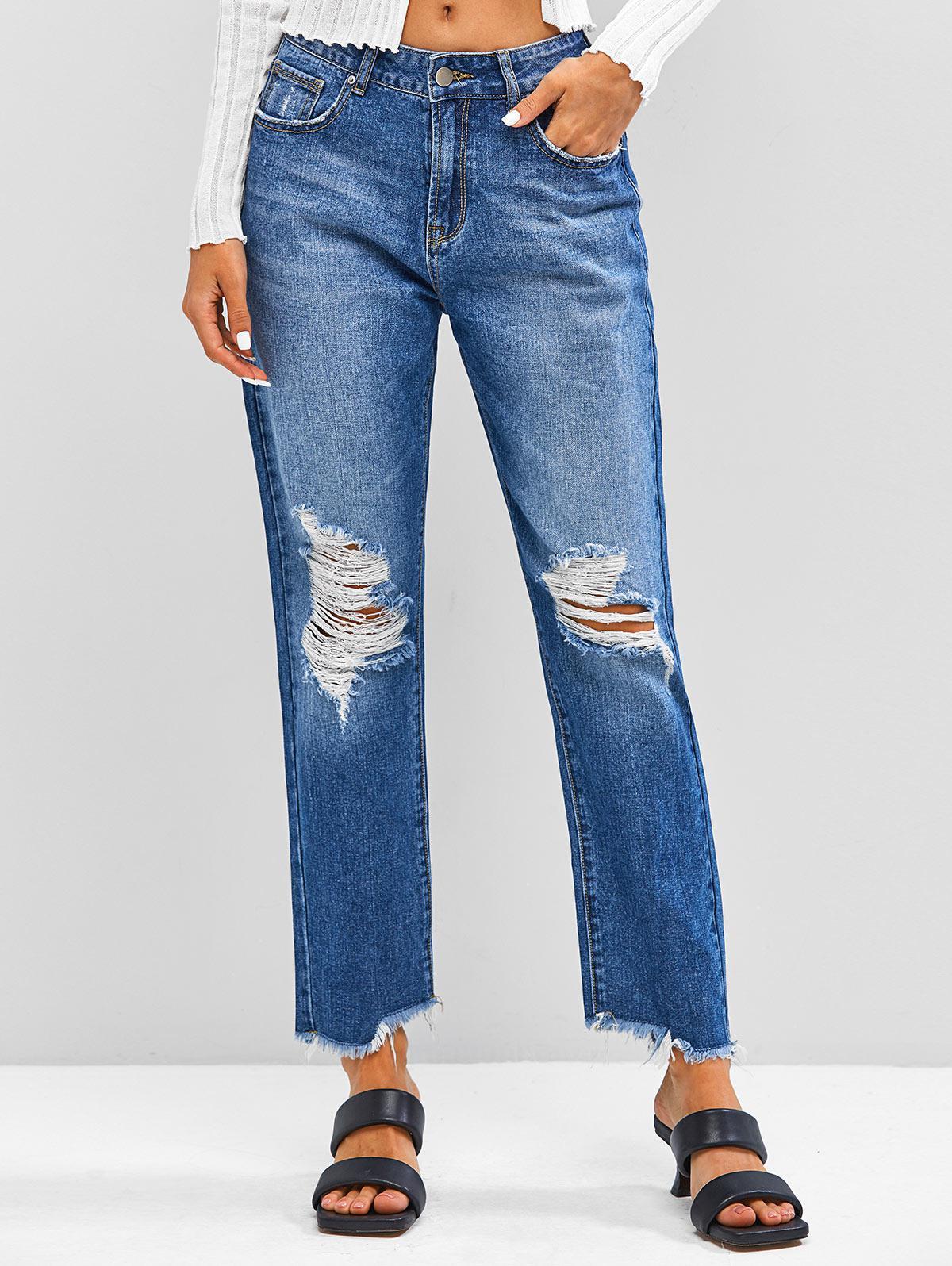 ZAFUL Distressed Frayed Zipper Fly Jeans