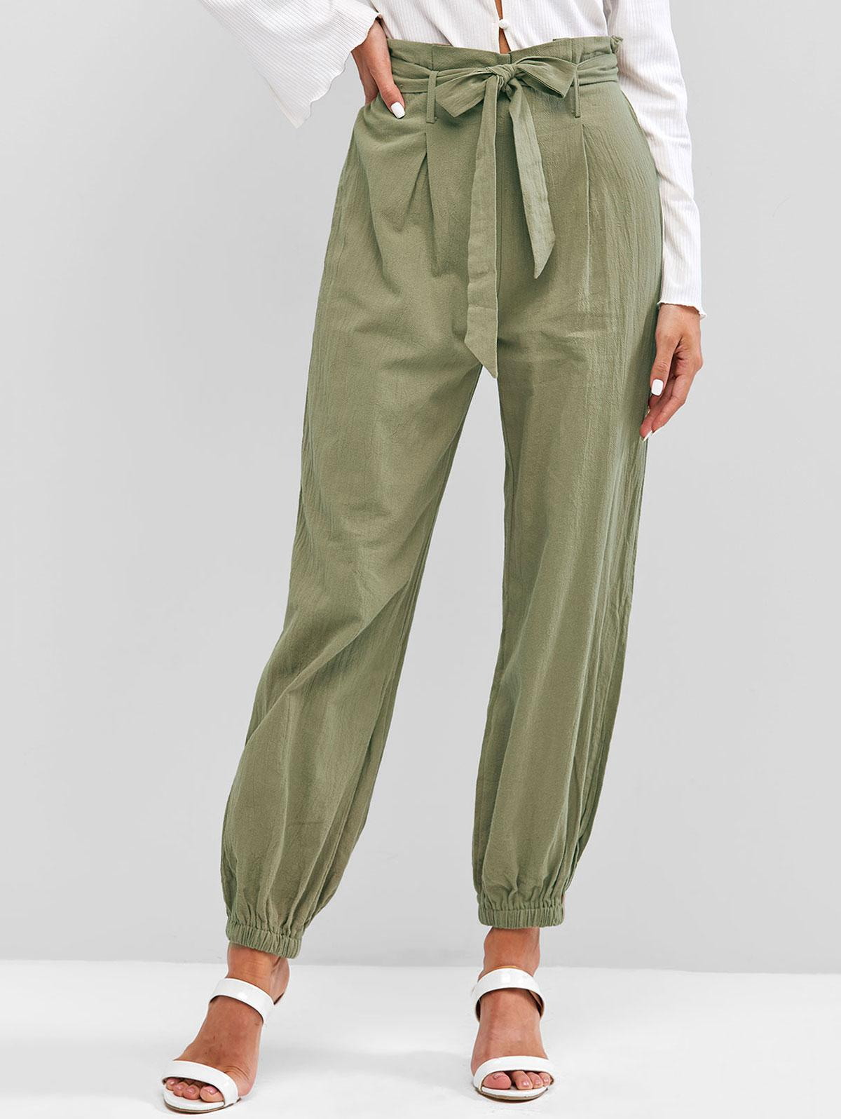 ZAFUL Solid Belted Paperbag Pants