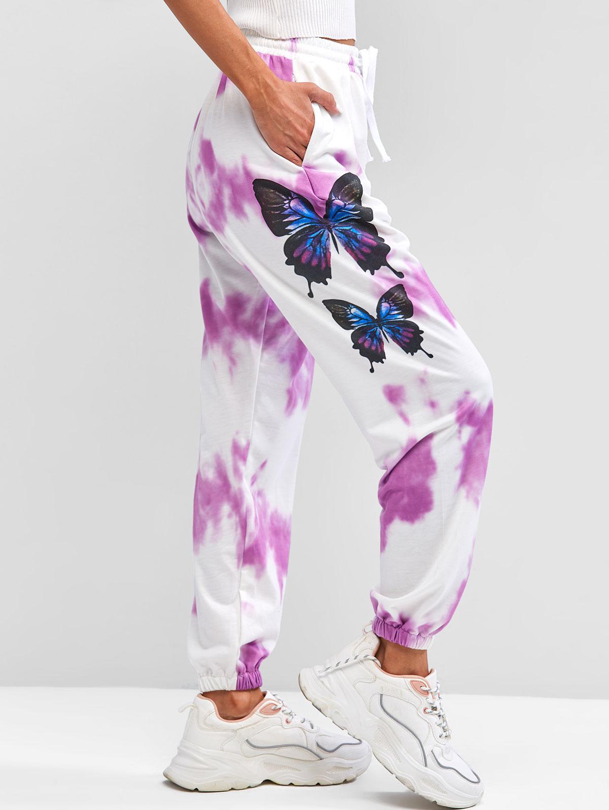 ZAFUL Butterflies Print Tie Dye Jogger Pants