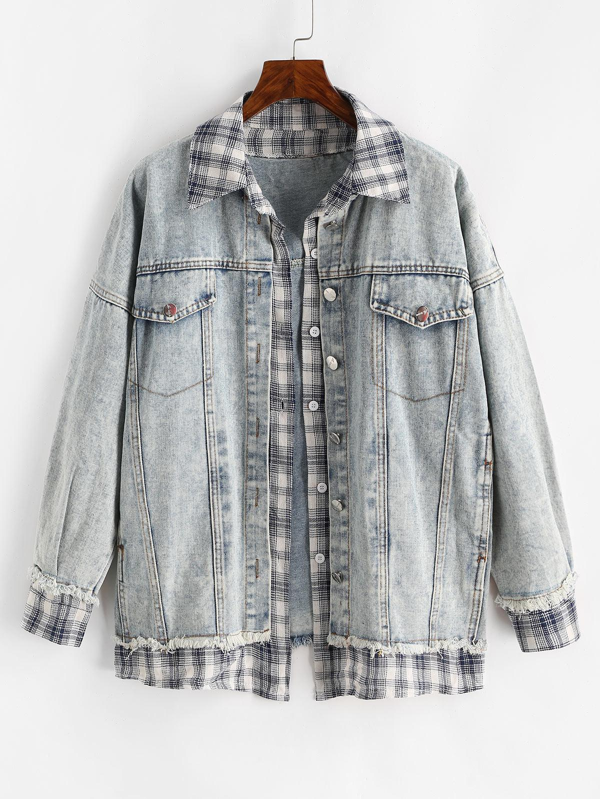 Layered Frayed Plaid Panel Denim Jacket