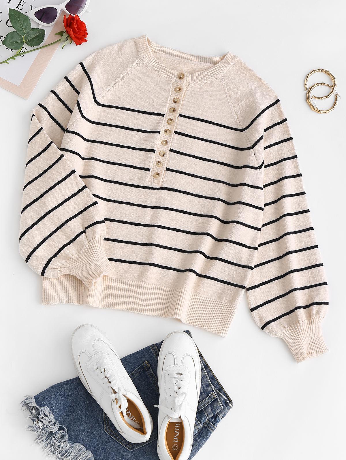 Striped Raglan Sleeve Sweater