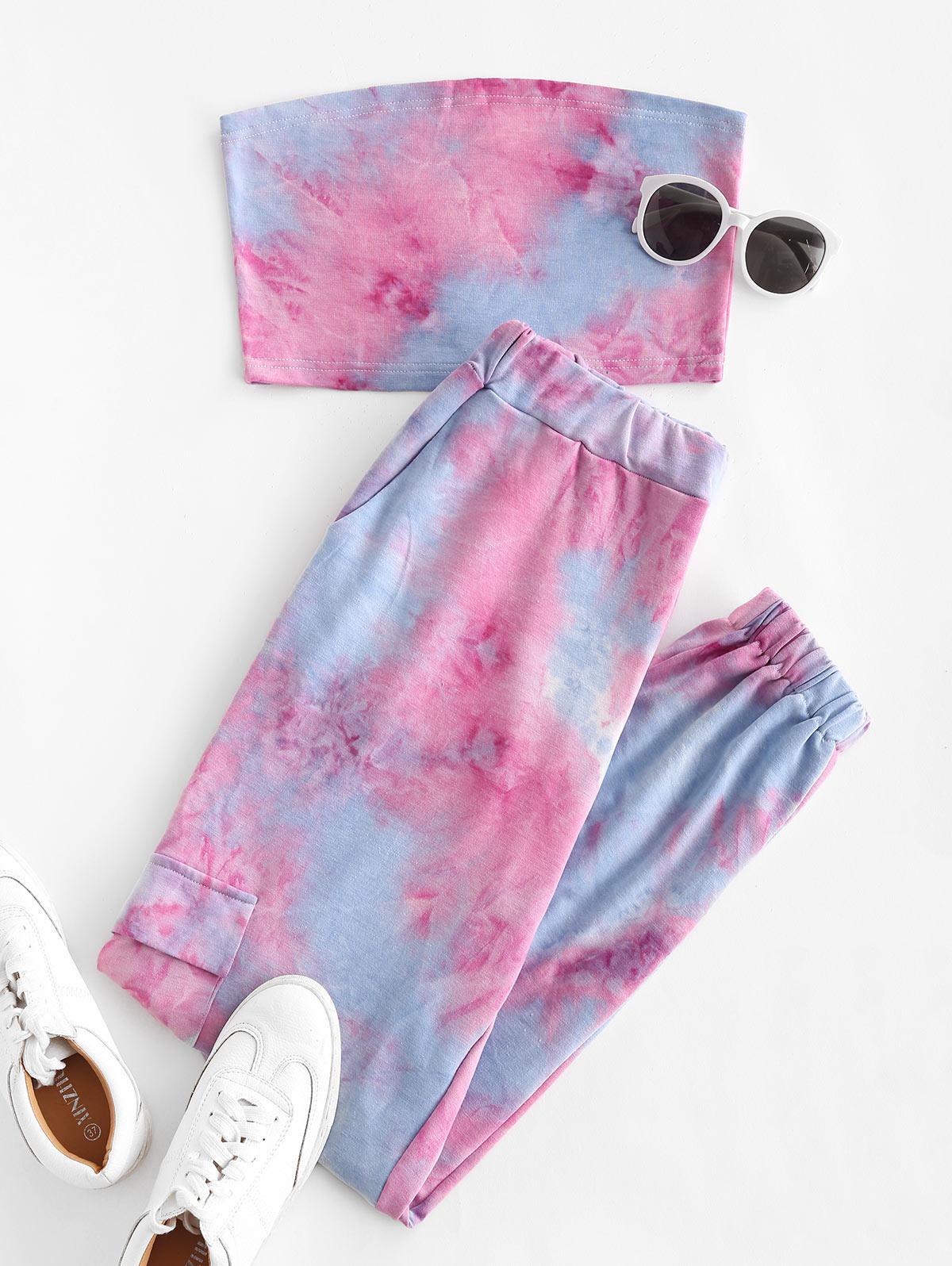 Sweat Tie Dye Two Piece Jogger Pants Set
