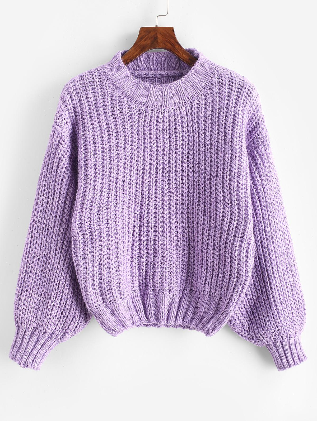 Glitter Mock Neck Chunky Sweater