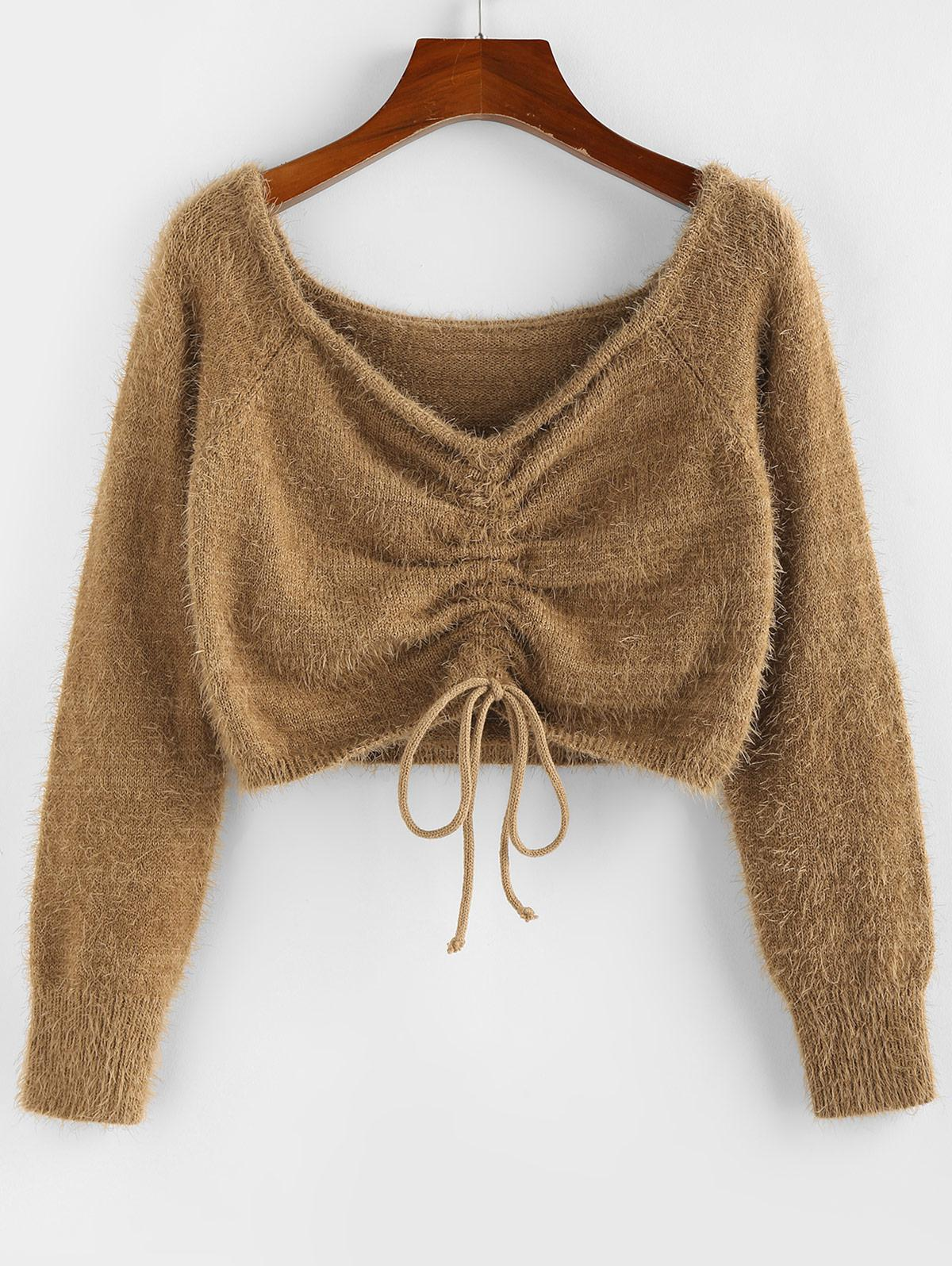 ZAFUL Fuzzy Cinched Raglan Sleeve Sweater