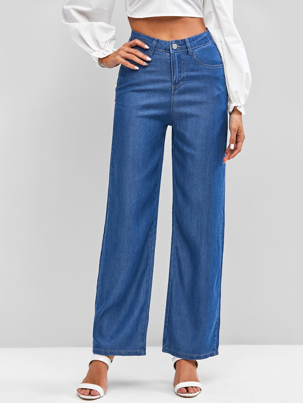 High Waisted Wide Leg Chambray Jeans