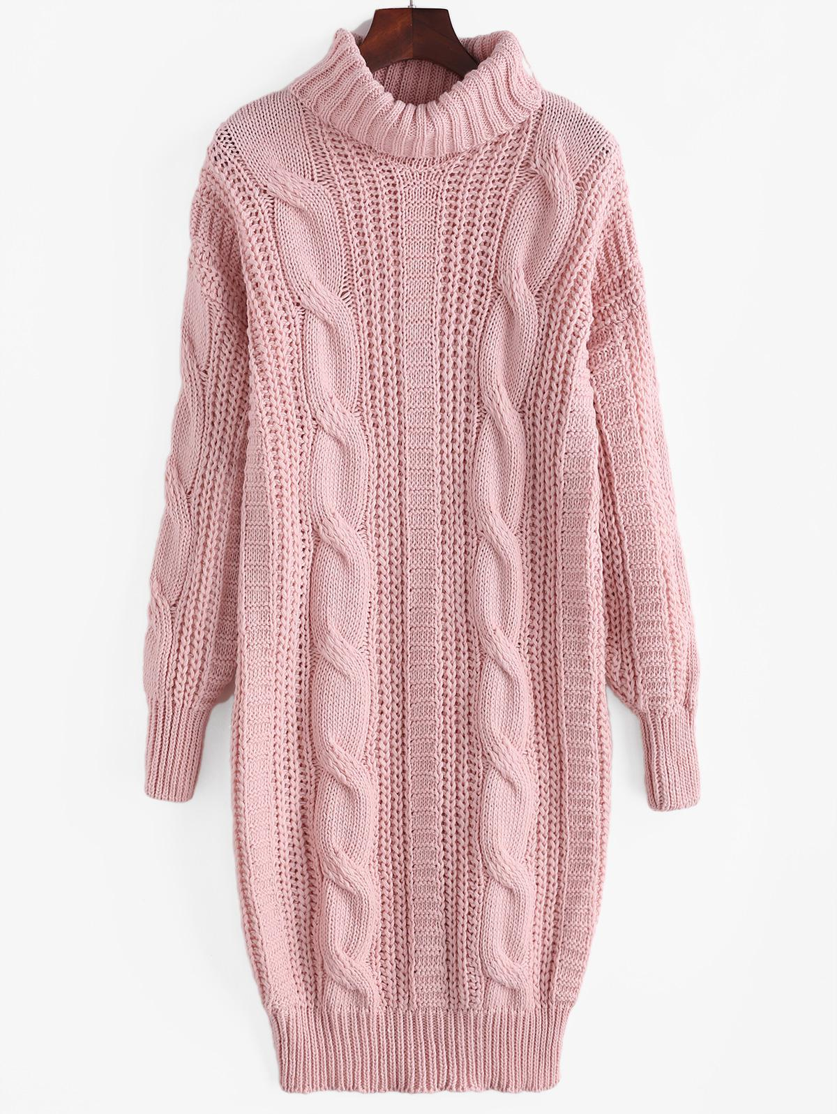 Turtleneck Cable Knit Chunky Sweater Dress