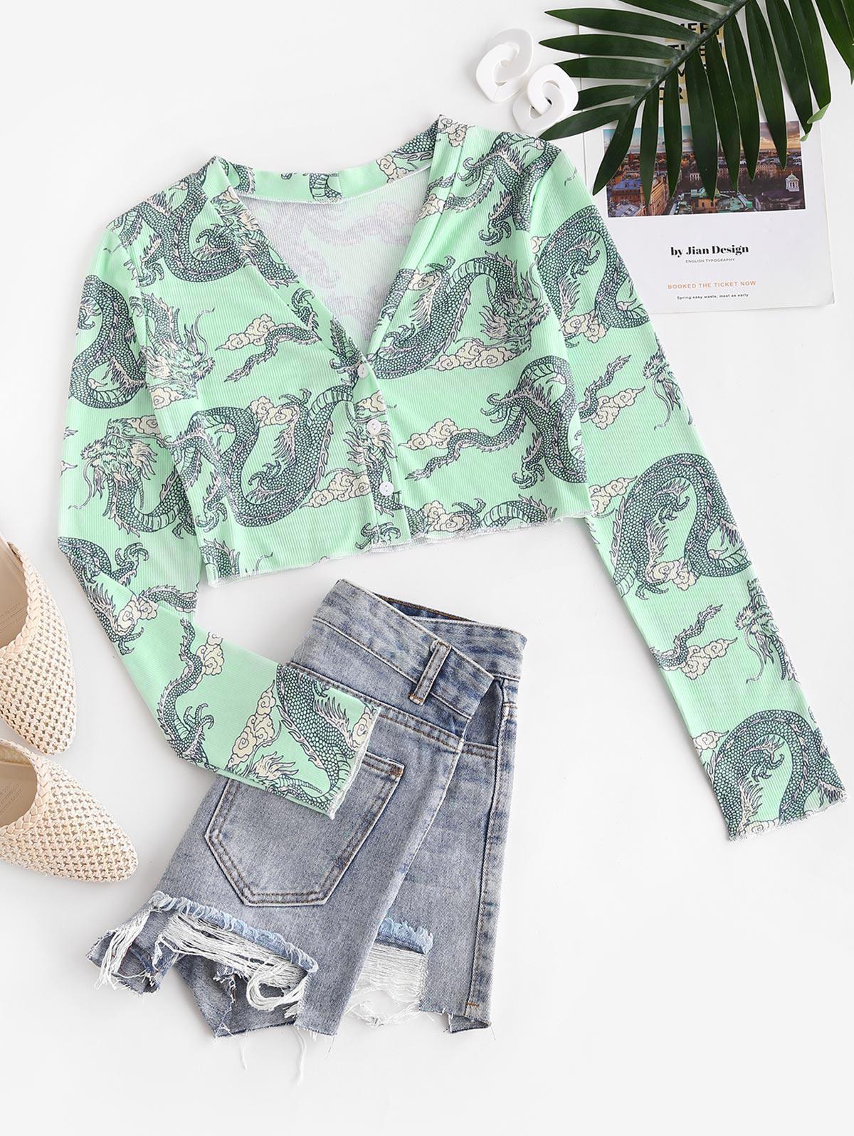 Ribbed Dragon Print Oriental Plunging T-shirt