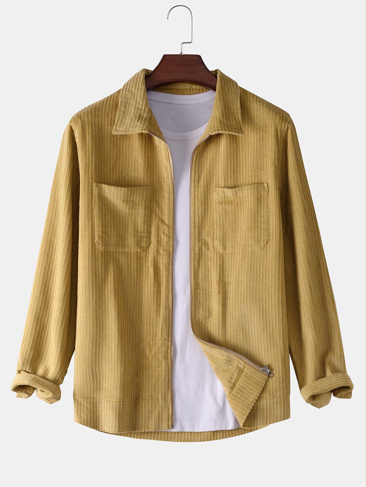 Zaful Solid Pocket Corduroy Jacket