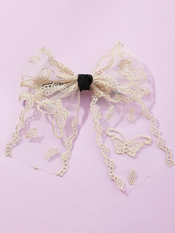Mesh Embroidery Bowknot Barrette