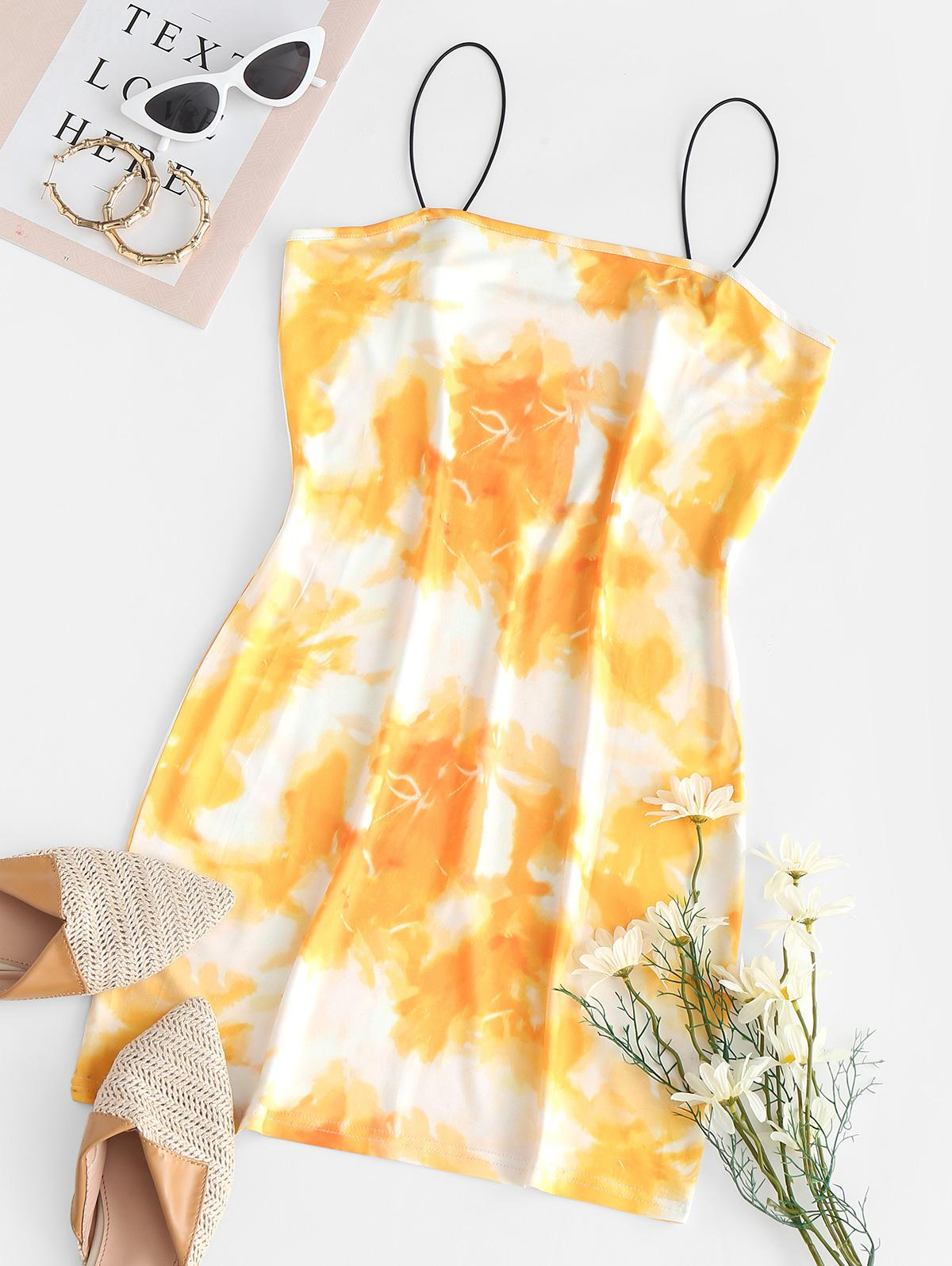 Bungee Strap Tie Dye Bodycon Cami Dress